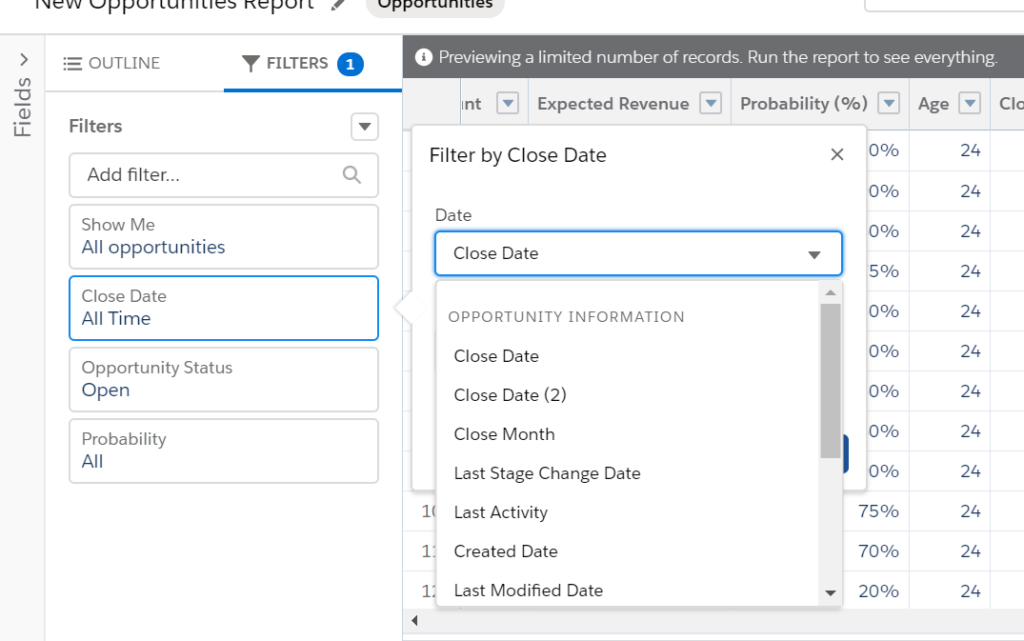 date field options in salesforce report