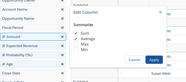 selecting average checkbox to summarize field